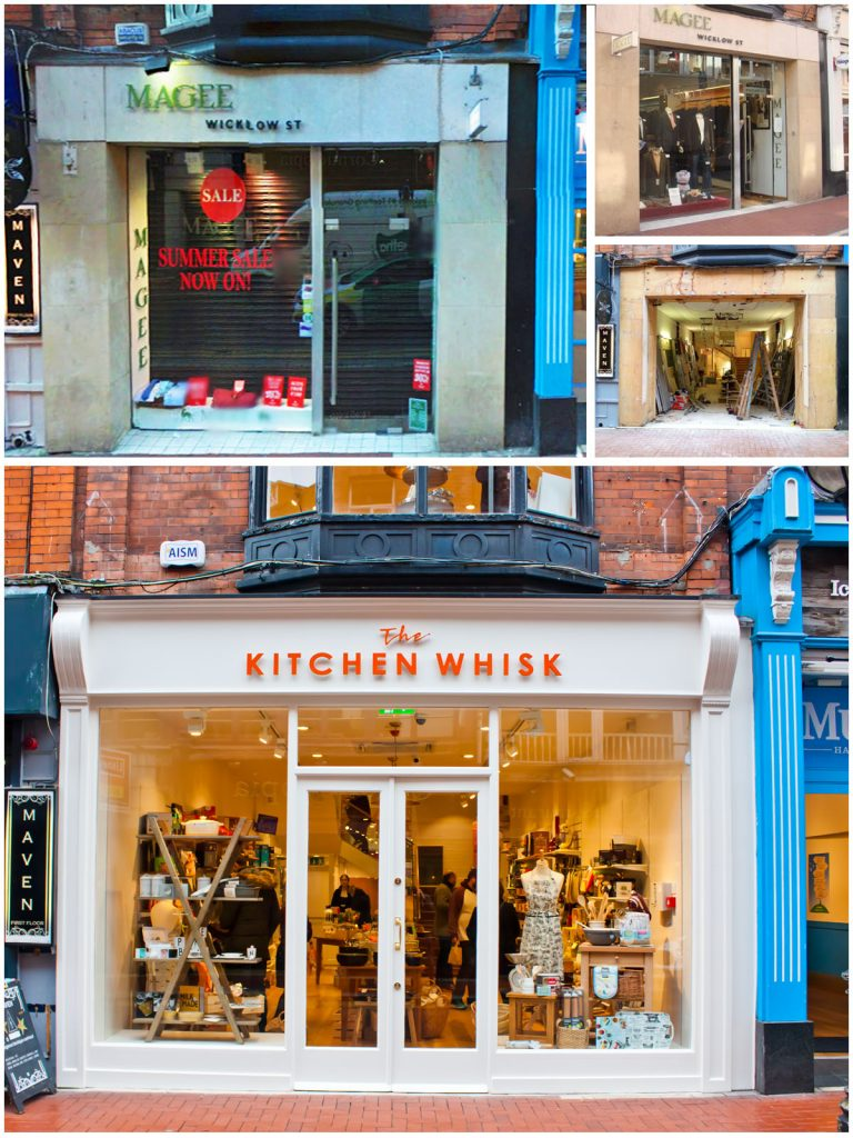 Shop Front Wicklow Street Kitchen Whisk Front Before and After