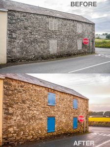 Before and after images of the rear shutters on and old stone building