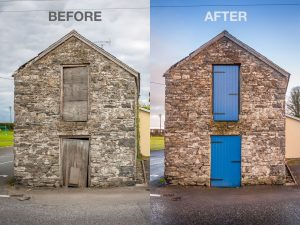 Before and after images of wooden tricoya doors on a stone building