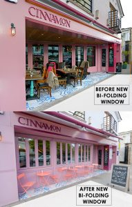 Bi Fold Windows Before and After Shop Front - Laurel Bank Joinery - Cinnamon Monkstown -Dublin