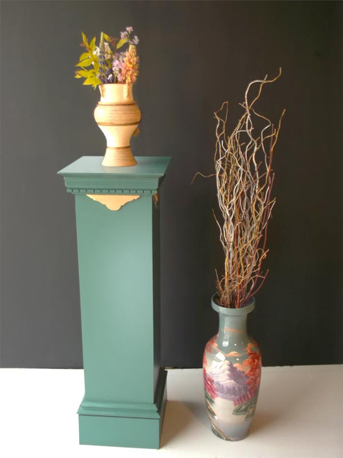 Pedestal Stand Wooden Painted Green - Laurel Bank Joinery