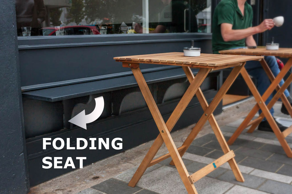 Shop Front Folding Seat with Outdoor Tables - Laurel Bank Joinery