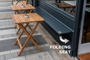 Shop Front Folding Seat and Tables -Laurel Bank Joinery - Square Restaurant Dundalk