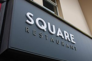 Modern Shop Front Signage and Lettering - Square Restaurant - Laurel Bank Joinery