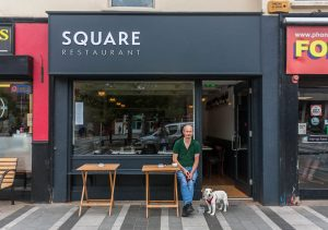 Modern Restaurant Shop Front - Square Restaurant with Owner - Laurel Bank Joinery