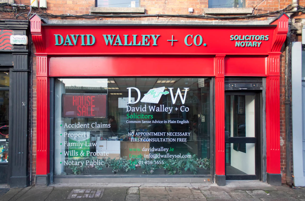 Image of a Irish Shop Front Signage and Pillars - David Walley Solicitors Dublin