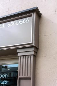 Image of a Shop Front Corbel and Signage in Louth - Hair Salon Corbel and Moulding by Laurel Bank Joinery Shop Fronts