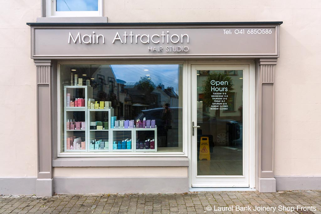 Image of a Shop Front in Louth - Hair Salon Signage and Pillars by Laurel Bank Joinery Shop Fronts