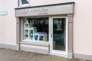 Sideview Image of a Shop Front in Louth - Hair Salon Signage and Pillars by Laurel Bank Joinery Shop Fronts